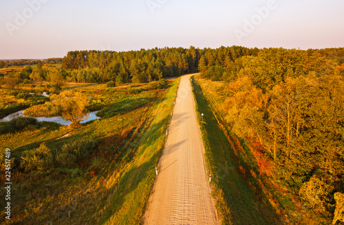 Stampa su Tela Rural dirt road view from above
