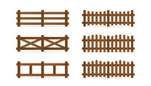 Set Of Different Rural Wooden Fences. Isolated Detailed Elements For Garden Illustration Design