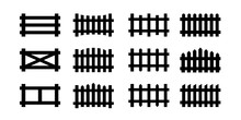 Sey Of Black Picket Fence Symbols And Signs. Isolated Vector Illustration On White Background.