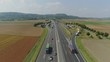 Cars on the Autobahn in Germany fast driving beautiful road