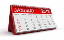 Calendar -  January 2019 (clipping Path Included)