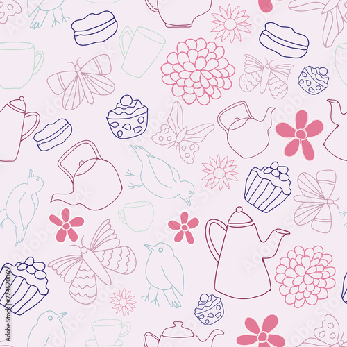 Foto op Plexiglas Kunstmatig Vector Pink Garden Tea Party Seamless Pattern Background. Perfect for fabric, wallpaper, stationery, scrapbooking projects.