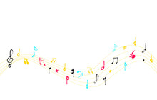 Musical Note Curve With Grunge With Treble Clef And Colorful Notes In Black And White. Vector Illustration.