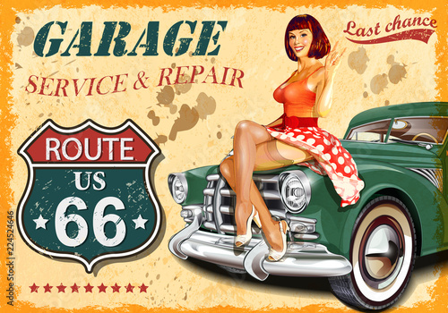 Vintage garage retro poster Wallpaper Mural