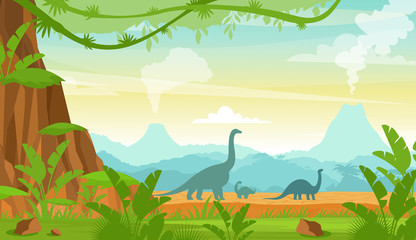 Vector illustration of silhouette of dinosaurs on the Jurassic period landscape with mountains, volcano and tropical plants in flat cartoon style.