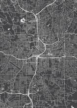 City Map Atlanta, Monochrome Detailed Plan, Vector Illustration