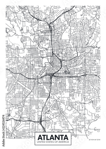 City map Atlanta, travel vector poster design Fotobehang