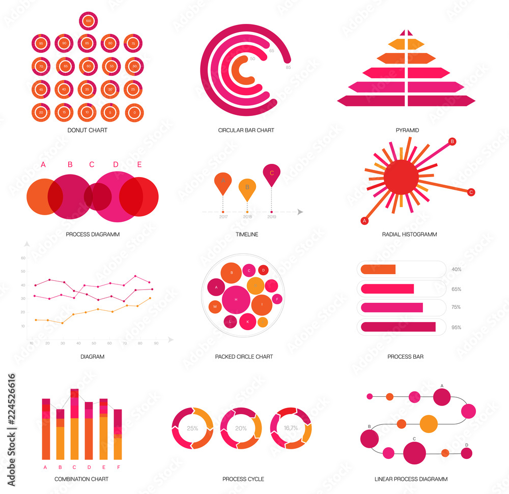 Fototapety, obrazy: Infographic Elements, Timeline Presentation Vector Set. Pink, Purple Female Elegant Data Visualisation Design. Annual Rating Diagram, Path, Target Chart. Statistics Website Infographic Elements