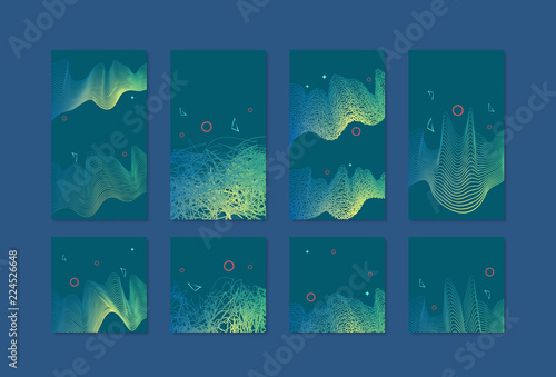 Set of social media templates with abstract amplitudes decoration Wallpaper Mural