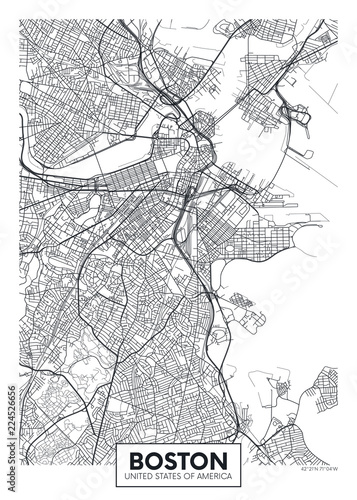 City map Boston, travel vector poster design Fotobehang