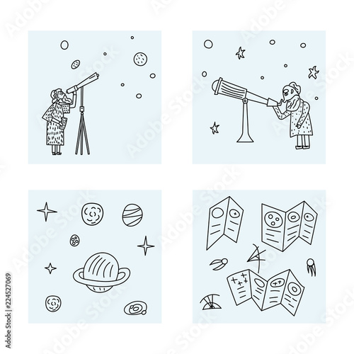 Photo Vector design of astronomers and space objects.