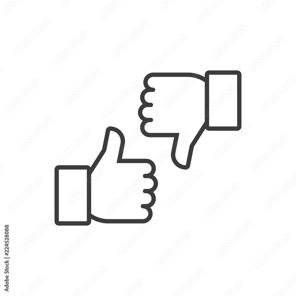 Fototapeta Thumbs up and thumbs down. Vector line icon
