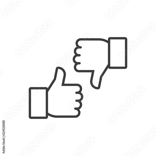 Fototapeta Thumbs up and thumbs down. Vector line icon obraz