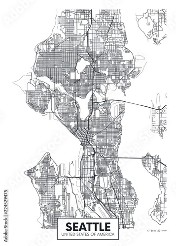 Photo City map Seattle, travel vector poster design