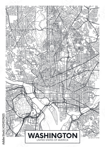 City map Washington, travel vector poster design Fotobehang