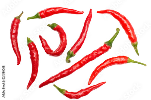 Photo  Group of red chili peppers, close up