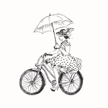 Lady In Polka Dot Dress In Hat And High Heels With Open Umbrella Riding Bicycle, Hand Drawn Doodle, Sketch Black And White Outline Vector Illustration
