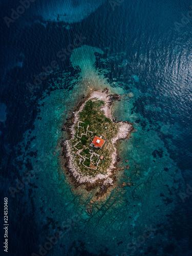 Croatia, Cres, Adriatic Sea, Island with lighthouse