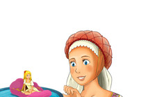 Cartoon Scene With Young Girl ...