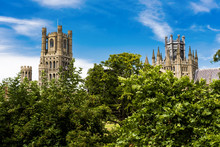 The Beautiful Ely Cathedral, Often Know As 'the Ship Of The Fens' Because Of Its Prominent Position Above The Surrounding Flat Landscape Towers Over The Streets Of The Picturesque City Of Ely.