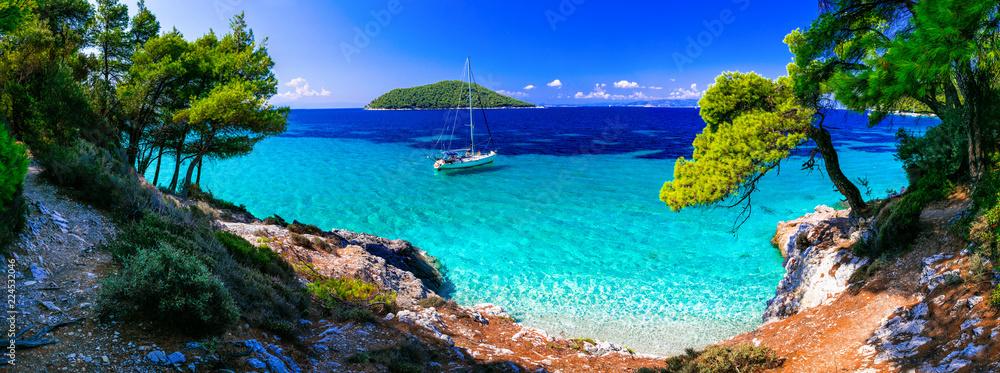 Wild beauty and best beaches of Skopelos island. Kastani beach. Sporades, Greece