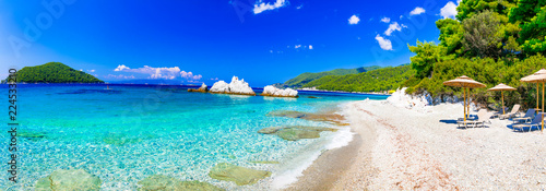 Best beaches of Skopelos island - relaxing Milia beach. Sporades, Greece