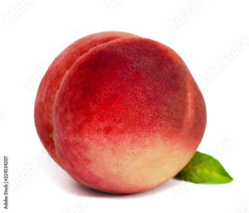 Foto op Aluminium Vruchten Peach close-up on isolated white background