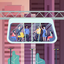 People At Futuristic Monorail ...