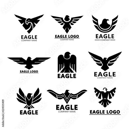 Fototapeta Black eagles silhouette for company branding