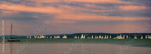 Photo  Yachts on Lake Balaton in summer, Hungary