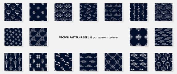 Asian patterns set. Kabuki. Japanese doodle backgrounds collection. Kabuki theatre elements. Kimono ornament. Asia culture symbols. Chinise sketches. Fashion. China. Japan. Vector fabric design.