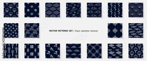 Valokuva Asian patterns set