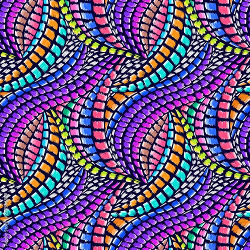 Foto auf AluDibond Boho-Stil Tribal pattern. Ethnic print. Aztec. Abstract geometric fabric. Cloth design. Spiritual fashion. Mystical ornament. Navajo textile. Boho homespun. Hand drawn seamless vector.