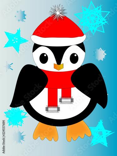 Fotografia  Dibujo animado de pingüino con bufanda y gorra entre copos de nieve