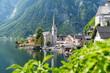 canvas print picture - Aussicht auf das Dorf Hallstatt, Salzkammergut, Österreich