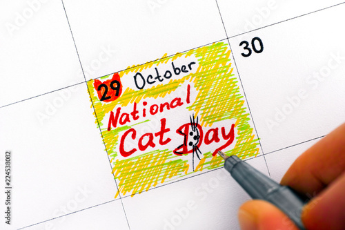 Fotografia  Woman fingers with pen writing reminder National Cat Day in calendar