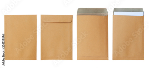 Cuadros en Lienzo Brown envelope front and back isolated on white background