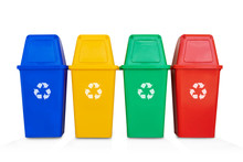 Four Colorful Recycle Bins Iso...