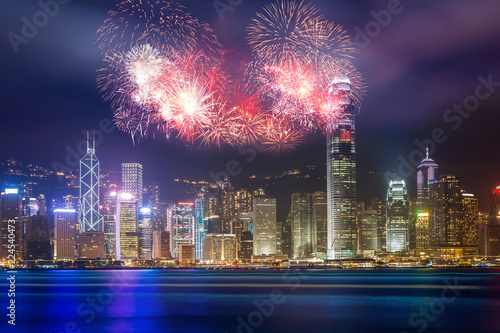 Firework show  in Hong Kong Victoria Harbor
