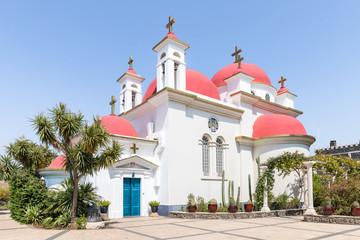 Fototapeta na wymiar Greek  Orthodox monastery of the twelve apostles in Capernaum (Cafarnaum) located on the coast of the Sea of Galilee - Kinneret, Israel