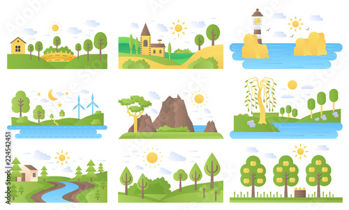 Poster Blanc Vector mini landscapes icons set. Ecology nature and travel. Lake and river, sea and sun, mountain and lighthouse, summer forest park tree. Flat illustration collection for labels, logo or emblems.