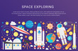 Vector trendy flat gradient space universe infographic elements collection with sun, planets, star spaceships, ufo aliens, astronaut, asteroids vector illustration.
