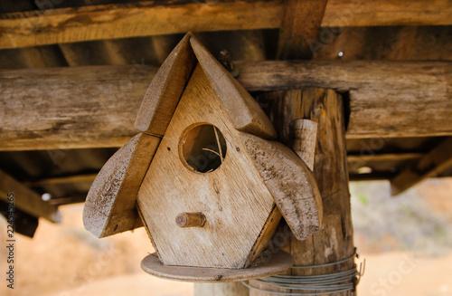 Leinwand Poster Birdhouse made in wood in Minas Gerais, Brazil.