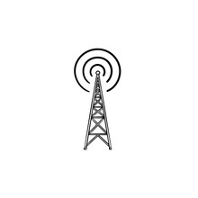 Radio Tower Hand Drawn Outline...