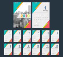 2019 Calendar. Desk Calendar M...