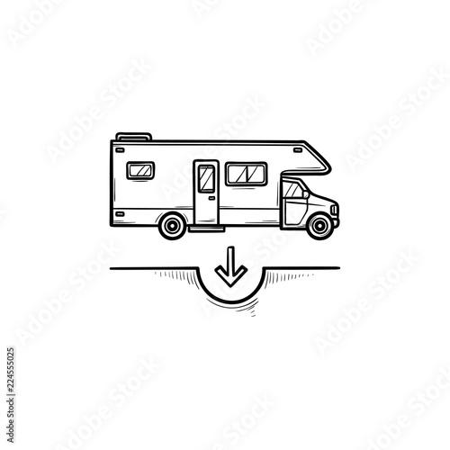 Slika na platnu Camper hand drawn outline doodle icon