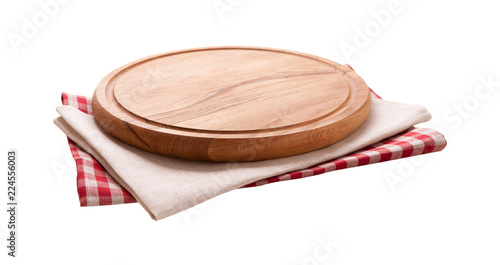 Pizza board, napkin isolated. Top view mockup