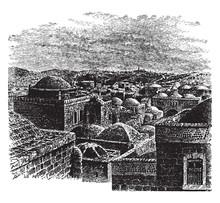 A View Of Jerusalem, Vintage Illustration.