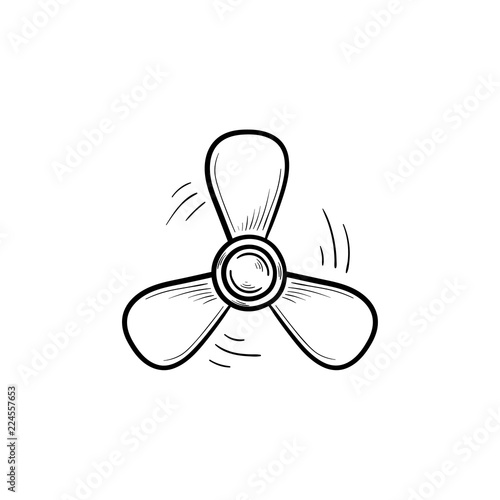 Photo Boat propeller hand drawn outline doodle icon
