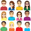 Collection of twelve different group people avatar portraits smiling